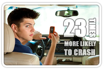23 times more likely to crash while texting